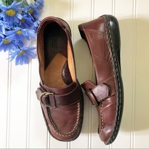 Born Brown Leather Slip-on Suede Shoes